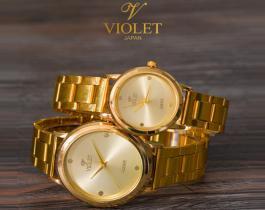 ست ساعت مچی مردانه و زنانه Violet مدل Lara (بند فلزی طلایی)