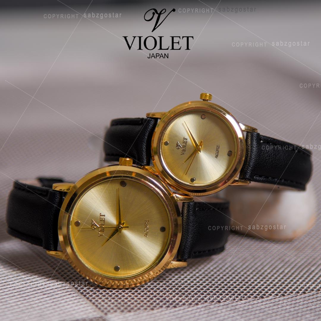 ست ساعت مچی مردانه و زنانه Violet مدل Acore(بند مشکی)
